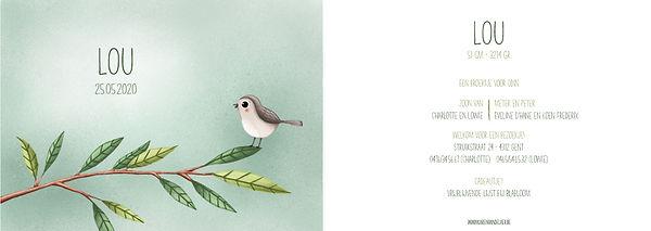 Illustratief geboortekaartje met vogeltje op een tak , groot formaat