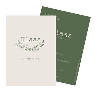 Je vindt hier een Scandinavisch, zomers geboortekaartje met een tros bloemetjes in fijn licht roze lijnwerk op een donker groene achtergrond. De geboortekaartjes zijn ontworpen door illustrator Karen Vandelaer.