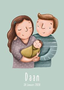 #geboortekaartje #babykaart #gezin #geboortekaartjemetgezin #mamapapakind #mamapapababy #portret #illustratie #birthcard #geboortekaartjefamilie #birthcardfamily #daan #mint #mintgroen
