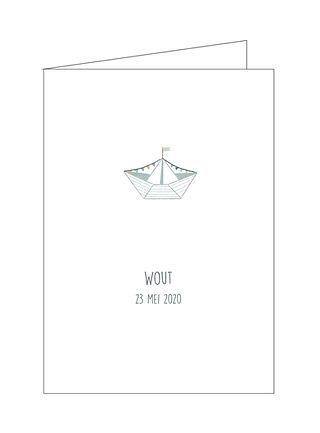 geboortekaartje bootje, zee, vlagjes, origami, gevouwen