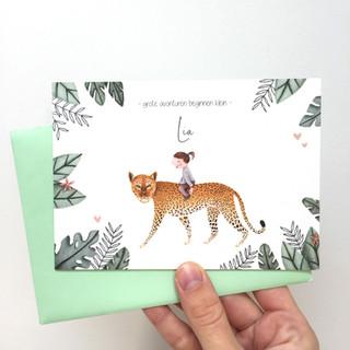 geboortekaartje luipaard in jungle