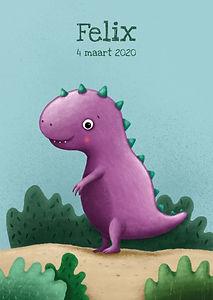 Hier zie je een geboortekaartje met een fel paarse, stoere dinosaurus op een zanderige grond met groene struikjes. Uit de geboortekaartjes reeks: illustratieve collectie.