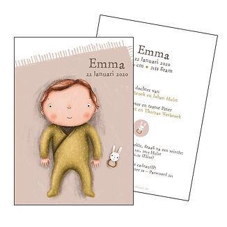 Je vindt hier een geboortekaartje met een schattige baby op een oud roze speelkleed. De geboortekaartjes zijn ontworpen door illustrator Karen Vandelaer.