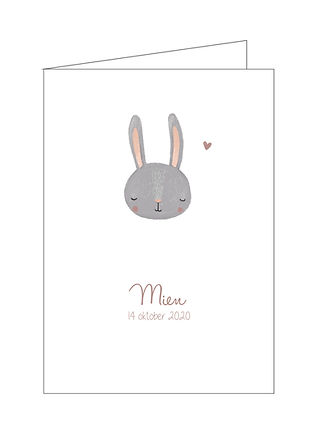 geboortekaartje grijs konijn, Mien
