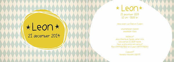 Je vindt hier een retro geboortekaartje met gele sterretjes en blauwe ruitjes op de achtergrond. Circus kaartje - grote versie
