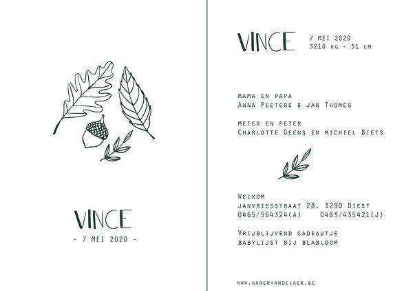Je vindt hier een geboortekaartje voor het najaar met   herfstbladeren en een eikel. Een Scandinavisch kaartje met fijn lijnwerk.