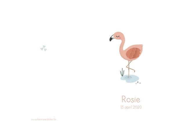 Origineel geboortekaartje buitenkant, flamingo, plantje, witte achtergrond, oogjes toe