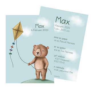 Je vindt hier een geboortekaartje met een schattige beer met een vlieger in zijn hand. De geboortekaartjes zijn ontworpen door illustrator Karen Vandelaer.