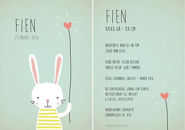 Je vindt hier een geboortekaartje met een lief konijntje met een hartjes ballon op een mintkleurige achtergrond. Bestseller - top kaartje - top 10 geboortekaartjes
