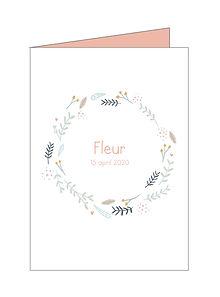 origineel geboortekaartje, krans, bloemen, takjes