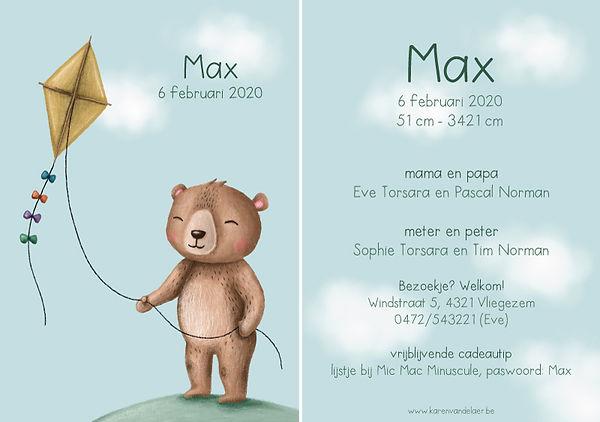 Je vindt hier een geboortekaartje met een schattige beer met een vlieger in zijn hand. Zacht, handgetekend lente kaartje - grote versie
