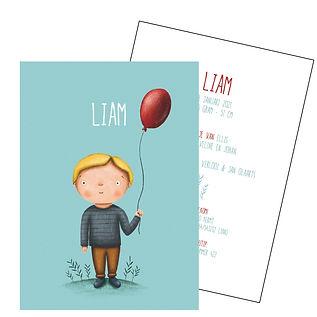 Je vindt hier een geboortekaartje met een schattig jongetje met een rode ballon. De geboortekaartjes zijn ontworpen door illustrator Karen Vandelaer.