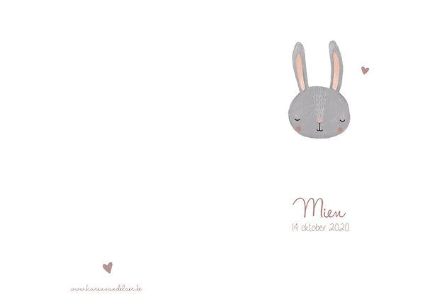 origine geboortekaartje, konijn, gesloten oogjes, oogjes toe, hartje
