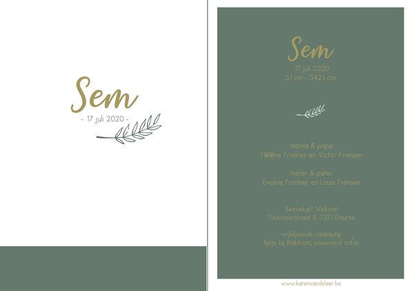 Je vindt hier een Scandinavisch geboortekaartje met een takje in fijn, goud lijnwerk op een olijfgroene achtergrond.