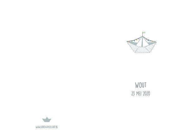 origineel geboortekaartje, bootje, buitenkant, wite achtergrond, vlagjes, zee,