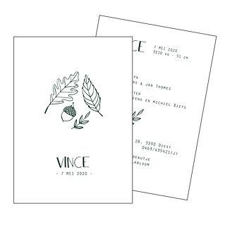 Je vindt hier een geboortekaartje voor het najaar met   herfstbladeren en een eikel. Een Scandinavisch kaartje met fijn lijnwerk. De geboortekaartjes zijn ontworpen door illustrator Karen Vandelaer.