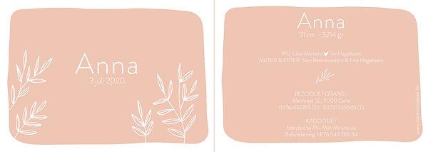 Je vindt hier een Scandinavisch geboortekaartje met geschetste, witte takjes. Een botanisch kaartje op een oud roze achtergrond. De geboortekaartjes zijn ontworpen door illustrator Karen Vandelaer.