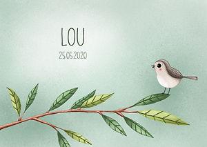 Je ziet hier een geboortekaartje met een vogeltje op een tak. Lieve, schattige geboortekaartjescollectie Lou.