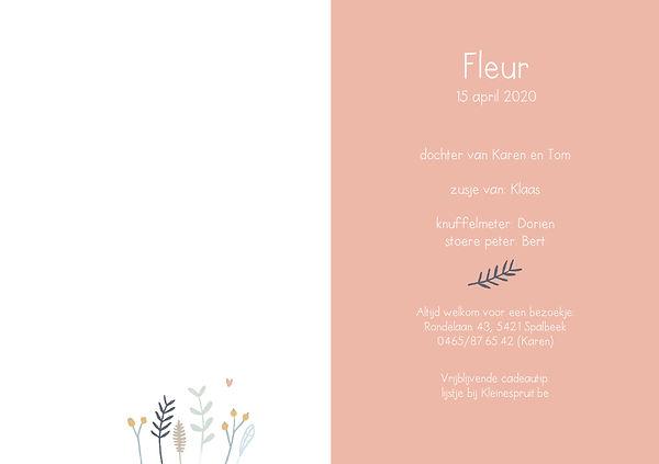 geboortekaartje fleur, binnenkant, takje, plantjes