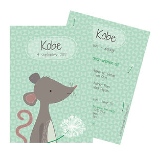 Je vindt hier een geboortekaartje met een lief muisje met een pluisbloem. De geboortekaartjes zijn ontworpen door illustrator Karen Vandelaer.
