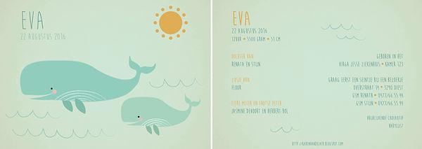 Je vindt hier een geboortekaartje met een mama walvis en een baby walvis in de zee. Retro kaartje in vuile, oude kleuren - grote versie
