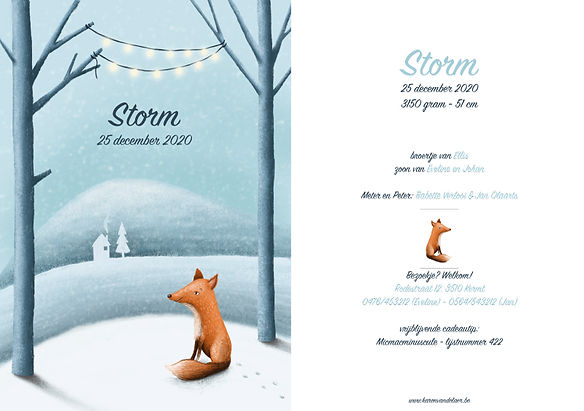 Je vindt hier een geboortekaartje met een lief vosje in een sneeuwlandschap. Getekende illustratie - grote versie