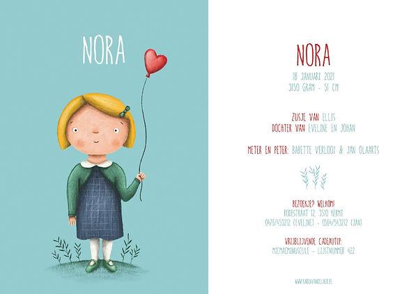 Je vindt hier een geboortekaartje met een schattig meisje met een rode ballon. Uniek, zelfontworpen kaartje - grote versie