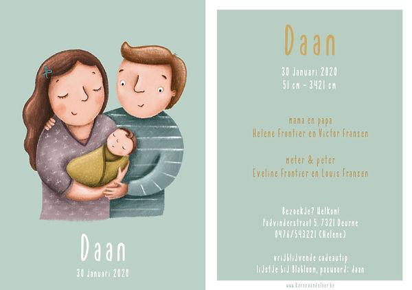 Je vindt hier een geboortekaartje met een gezin; mama, papa en baby op een blauw groene achtergrond. Getekend kaartje met ouders en kindje - grote versie