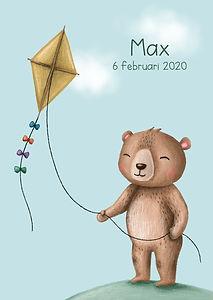 #geboortekaartje #beer #bear #birthcard #babykaart #vlieger #kite #wolken #zomer #lente #illustratie #zwanger #max #20weken #wolkenlucht #schattig #lief #blij