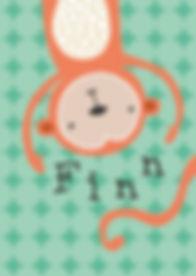 Geboortekaartje dier geboortekaart newborn zwanger illustratie illustration birthannouncement kindjeopkomst karen vandelaer birthcard babycard ontwerp maatwerk geboortekaartje op maat 20 weken zwanger 20 weeks pregnant babykaart baby ontwerpen kaartje fin finn aap monkey acrobaat jongleren