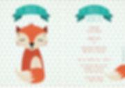 Je vindt hier een geboortekaartje met een slapend vosje op een oud blauwe driehoekjes achtergrond. Geometrisch dieren geboortekaartje met vrolijke kleuren.