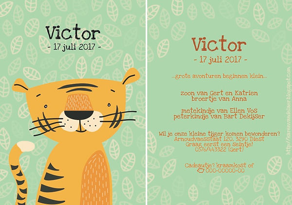 Je vindt hier een geboortekaartje met een stoere tijger tussen de jungle bladeren. Felle, vrolijke kleuren, jongen.