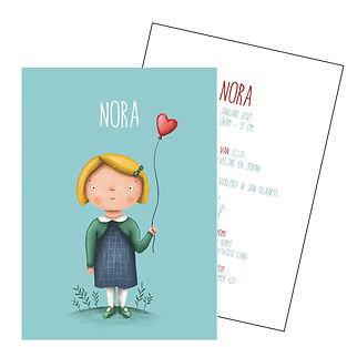 Je vindt hier een geboortekaartje met een schattig meisje met een rode ballon. De geboortekaartjes zijn ontworpen door illustrator Karen Vandelaer.