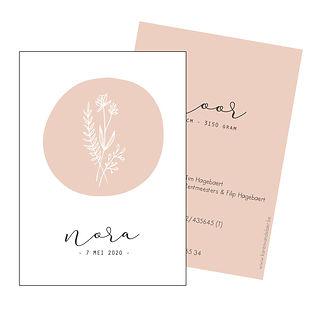 Je vindt hier een Scandinavisch geboortekaartje met  een bosje lijngetekende bloemen. Een botanisch kaartje op een oud roze achtergrond. De geboortekaartjes zijn ontworpen door illustrator Karen Vandelaer.