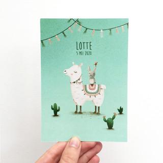 geboortekaartje op maat: Lotte, met een lama en een konijntje