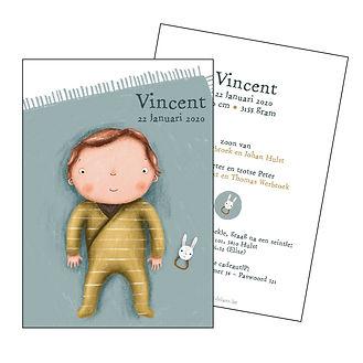 Je vindt hier een geboortekaartje met een schattige baby op een oud blauw speelkleed. De geboortekaartjes zijn ontworpen door illustrator Karen Vandelaer.