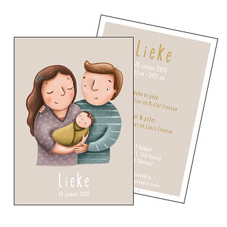 Je vindt hier een geboortekaartje met een gezin; mama, papa en baby op een oud roze achtergrond. De geboortekaartjes zijn ontworpen door illustrator Karen Vandelaer.