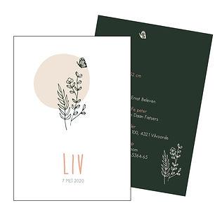 Je vindt hier een Scandinavisch, zomers geboortekaartje met een bosje bloemen, een vlinder en een oud roze zon in fijn lijnwerk. De geboortekaartjes zijn ontworpen door illustrator Karen Vandelaer.