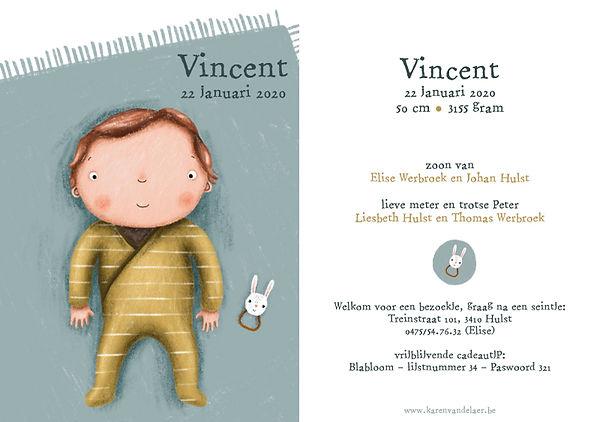 Je vindt hier een geboortekaartje met een schattige baby op een oud blauw speelkleed. Handgetekend en anders-dan-anders - grote versie