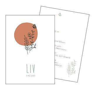 Je vindt hier een Scandinavisch, zomers geboortekaartje met een bosje plantjes, een vlinder en een donker roze zon in fijn lijnwerk. De geboortekaartjes zijn ontworpen door illustrator Karen Vandelaer.