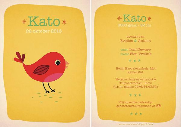 Je vindt hier een kleurrijk geboortekaartje met een schattige, rode vogel. Felle kleuren, illustratie op een fel gele achtergrond - grote versie