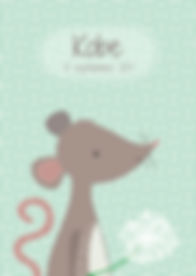Geboortekaartje dier mouse geboortekaart newborn zwanger illustratie illustration birthannouncement kindjeopkomst karen vandelaer birthcard babycard ontwerp maatwerk geboortekaartje op maat 20 weken zwanger 20 weeks pregnant babykaart baby ontwerpen kaartje kobe muis blaasbloem pluizenbol