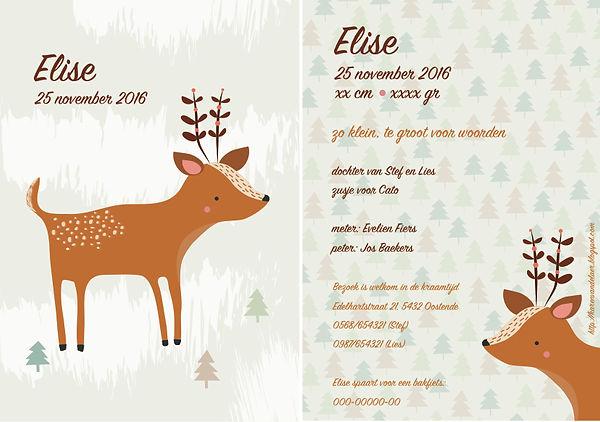 Je vindt hier een geboortekaartje met een schattig hertje tussen dennenbomen in de sneeuw. Ree, kaartje in natuurkleuren - grote versie