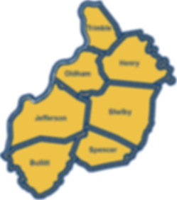 Yellow map of the KIPDA Are Developmen District wth our 7 Kentucky Counties outlined in navy