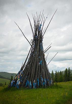 Mongolie - Ovoo en bois / Mongolia - Ovoo in wool