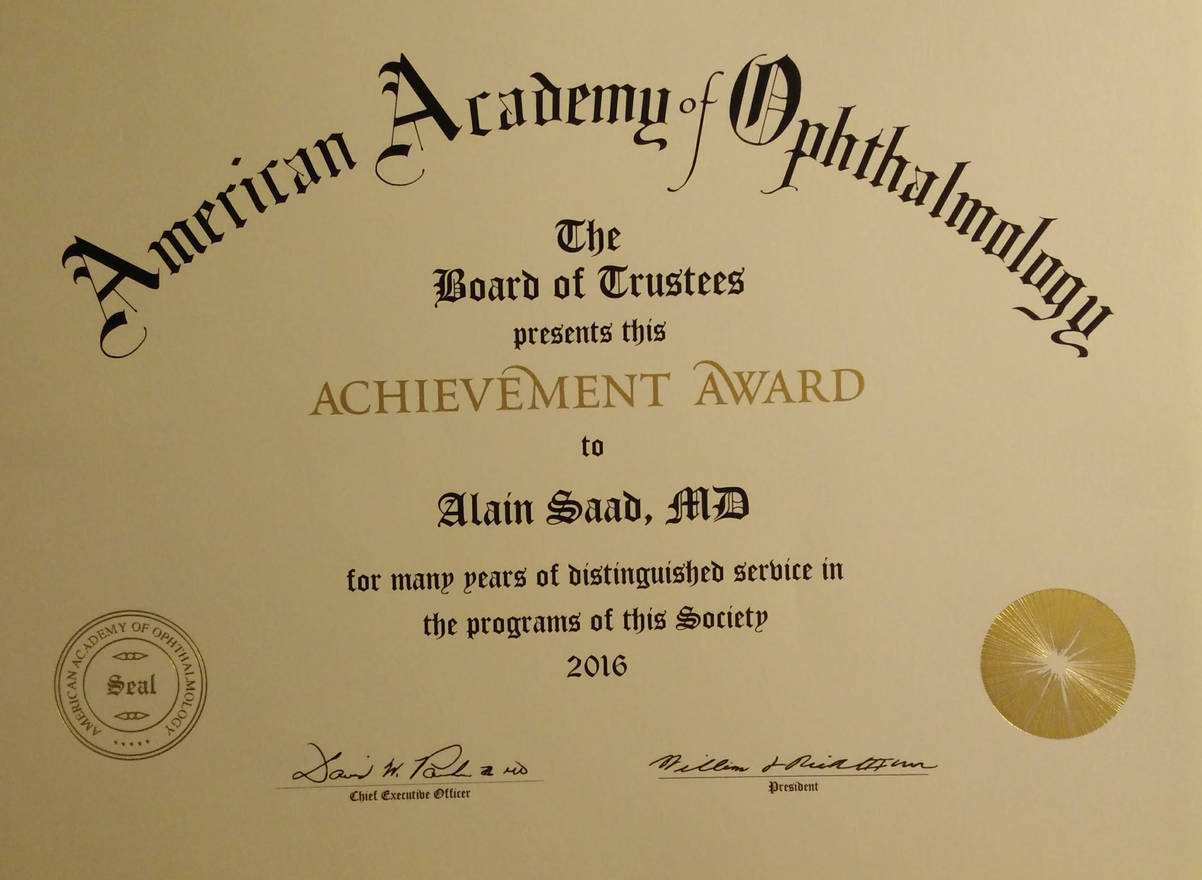 2016 - Achievement Award from the American Academy of Ophthalmology