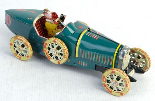 Coche de carrera de juguete en hojalata finales siglo XX