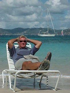 Doug relaxing on Peter Island, BVI w_Dak