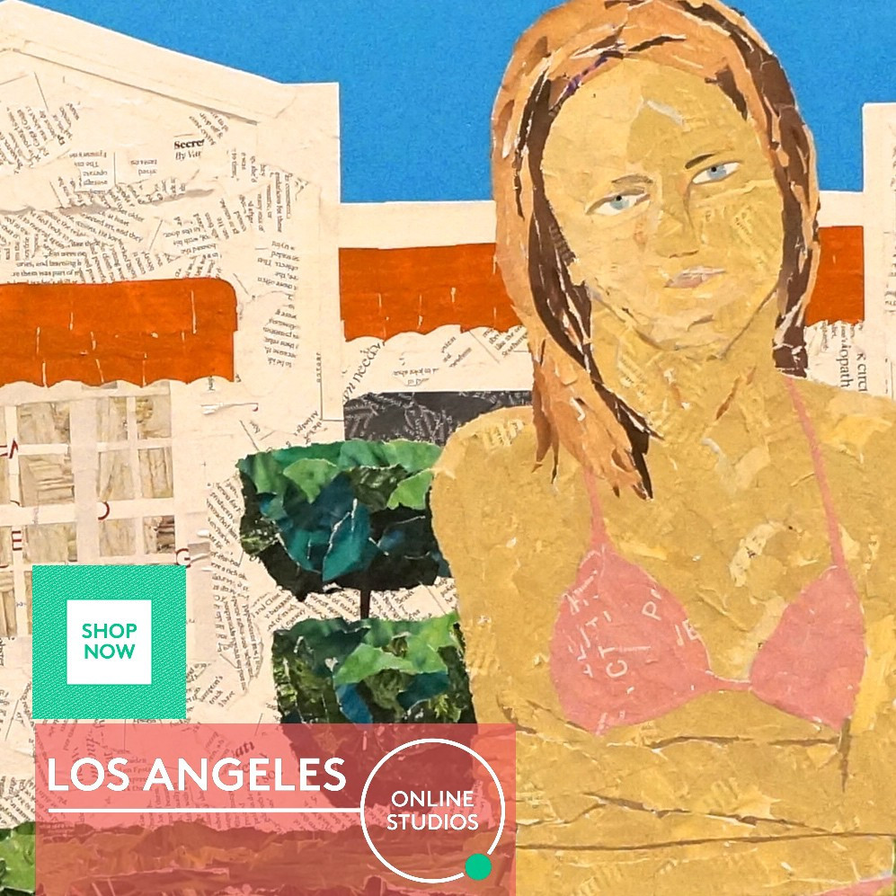 Woman outside a Spanish hacienda style building in LA by artist Ray Monde