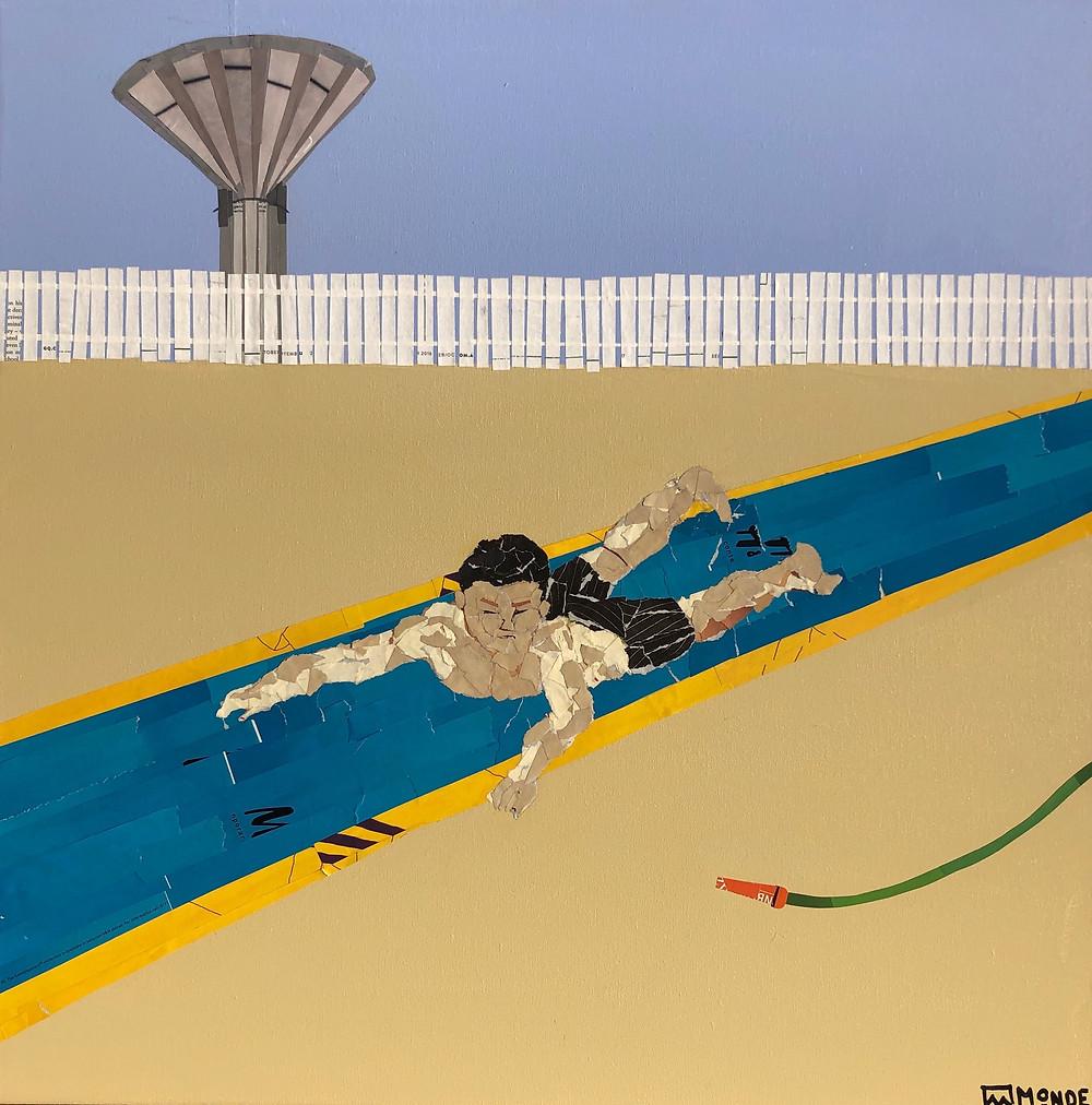 Boy on slip'n'slide by Ray Monde
